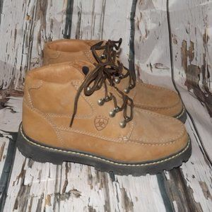 Women's Ariat Brown Leather Lace Up Ankle Boots